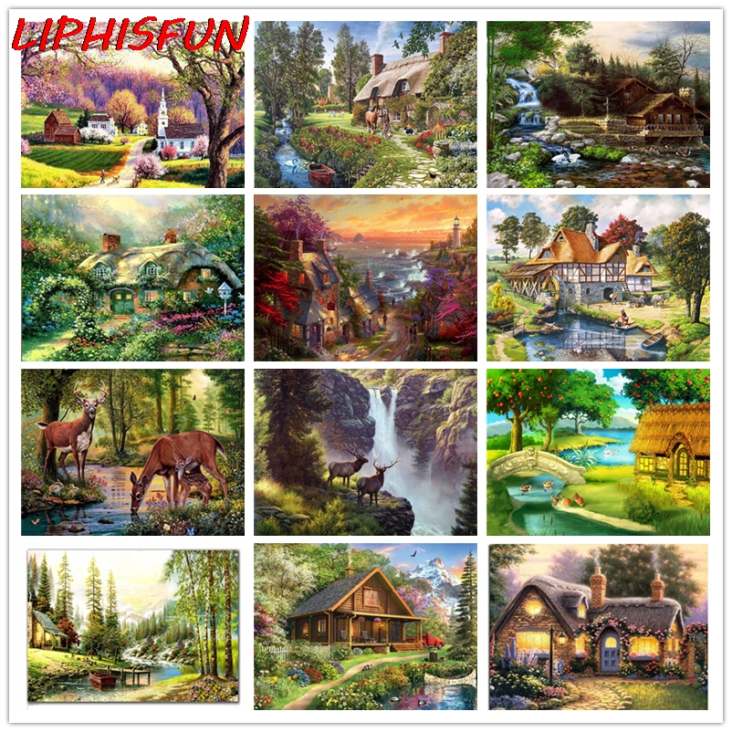 Full Drill Landscapes DIY 5D Diamond Painting Cross Stitch Embroidery Home Decor
