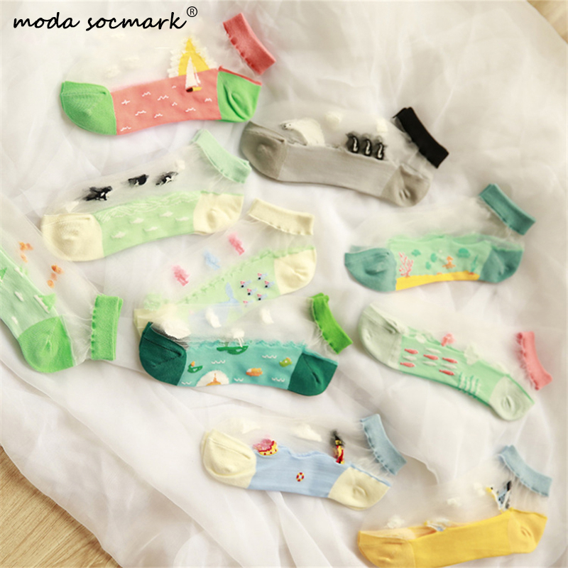 Women Ladies Socks Personality Ocean Series Sheer Mesh Glass Silk Socks Ultrathin Transparent Crystal Lace Summer Ankle Sock
