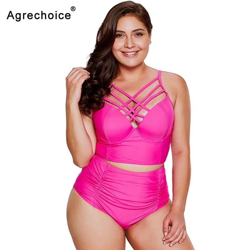 2019 Plus Size Bikini Swimwear Women Push Up Swimsuit Bandage Bikini Set Vintage Retro Bathing Suits Plus Size Swimming Suit 5XL