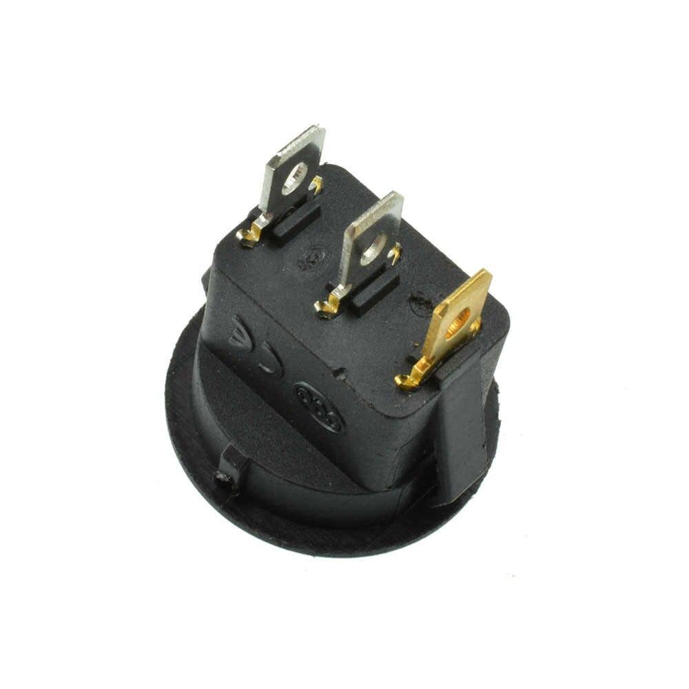 Interruptor de coche de 12V focos LED en 4 colores, interruptor redondo de barco de 3 pines, interruptor redondo de encendido/apagado, interruptor SPST azul/amarillo/rojo/verde