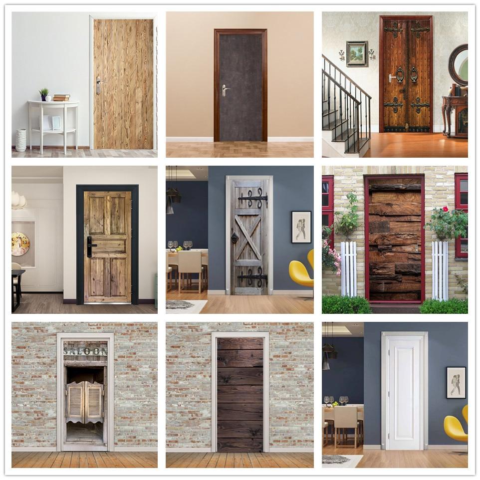 PVC Bedroom Door Wallpaper Poster Self-adhesive Wood Door Stickers Home Decor Decal Cement Grey Mural Deursticker Voor Woonkamer