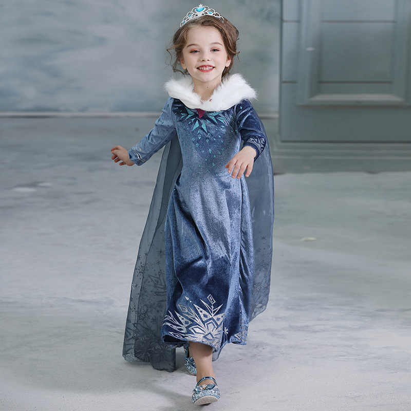 Anna elsa novas meninas vestido de princesa halloween cosplay traje inverno natal manga longa traje para crianças menina festa de aniversário