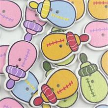 50pcs White painted cute small bottle wooden button DIY cartoon wooden button children clothes women's accessories