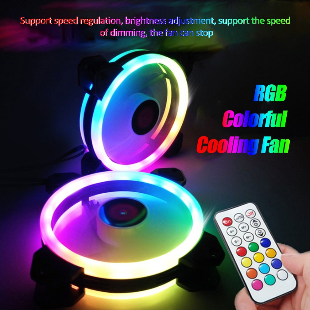 3-Pack LED Cooling Fan RGB 120mm 12V W/ Remote Control For Computer Case PC CPU