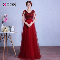 XCOS 2019 New Shelves Long HomeComing Dresses V Neck Elegant Homecoming Party Dress Up Backless vestido de formatura