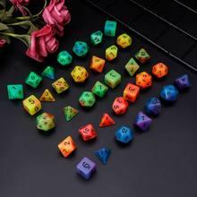 Luminosa polyhedral face dados d4 d6 d8 d10 d12 d20 conjunto para d & d rpg poli jogo 7 pçs/set