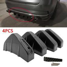 4pcs SUV Rear Bumper Spoiler Carbon Fiber Car Rear Bumper Diffuser Molding Shark Fin Spoiler Protector Cover Universal