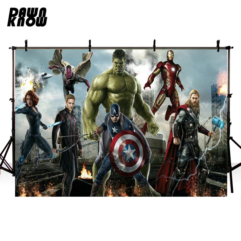 DAWNKNOW Avengers Iron Man Photography Background Superhero Captain America Backdrops For Children Photocall Customize lv385 image