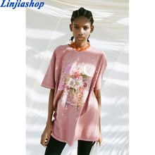 Spring summer girls cotton cute pink T-shirt cartoon casual O-neck simple loose white tees tops new arrivals 2021