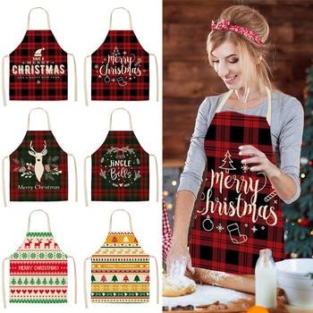 Delantal navideño de lino, adornos navideños para el hogar, accesorios de cocina, Navidad 2020