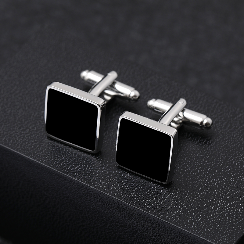 Classic Geometry of the Square Copper Black Men Cufflink Luxury gift Party Wedding Suit Shirt French Cuff Links Free Shipping(China)