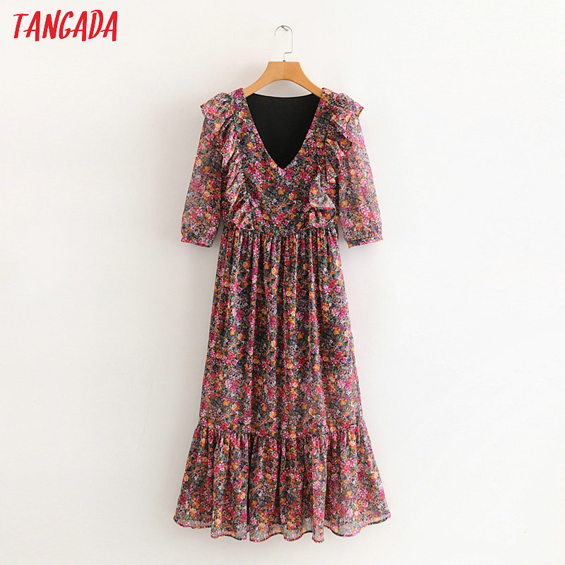 Tangada Women Sweet Flowers Ruffles Maxi Dress V Neck Half Sleeve Ladies Vintage 2020 Spring Dress Vestidos 2L08