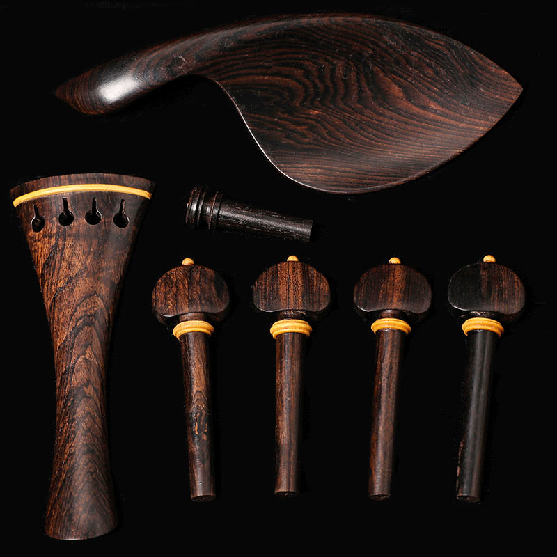 Jujube Wood Violin Parts Chinrest Pegs Tailpiece Tunners Endpin String Violin Fittings Kit A+String