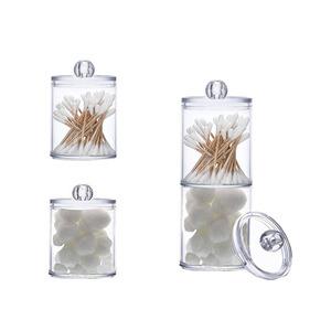 New Cosmetic Make Up Cotton Swabs Transparent Container Acrylic Multifunctional Round Receive Box Jewelry Box
