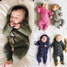 Newborn Baby Boy Girl Romper Boys Girls Baby Long Sleeved Hooded Soft Cotton Rompers Cute Jumpsuits autumn baby fashion cute warm rompers cute rabbit ears design baby bunny hooded romper newborn boys and girls one pieces suits