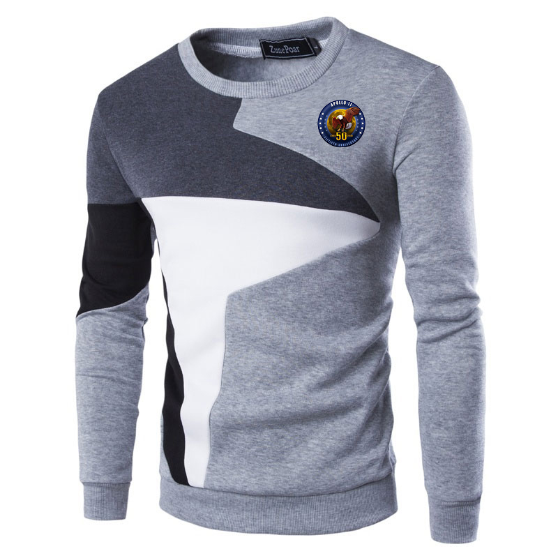 apollo 50 print Men Sweater Slim Fit Knittwear Casual Pullover Male O-neck Patchwork Sweater Men Pull Homme Tops Men Clothing