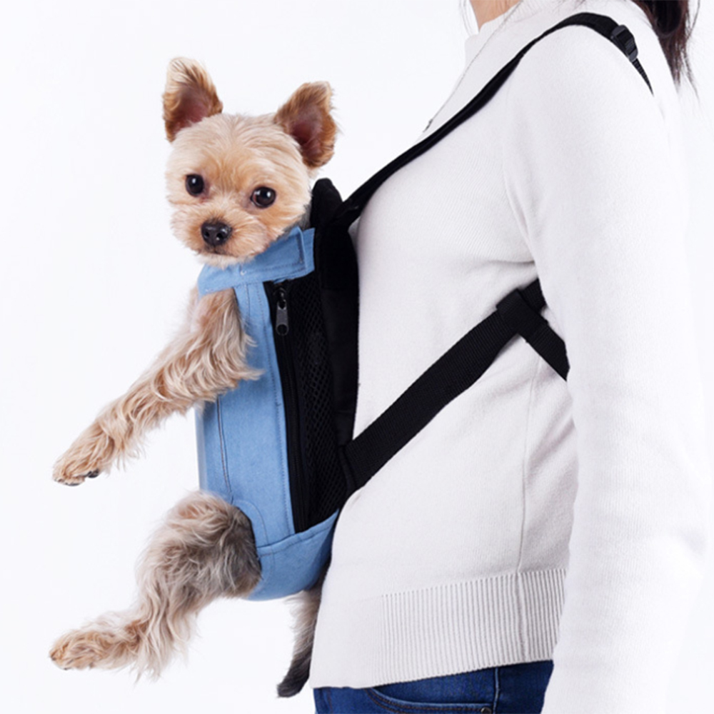 Breathable Pet Carrier bag with Easy Access Side Zips and Elastic Top Closure for Carrying Puppies and Kittens