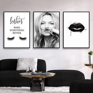 Image 3 - Modny plakat rzęsy usta tworzą obraz na płótnie czarne białe plakaty i druki Nordic Wall Art zdjęcia do salonu