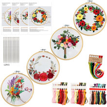 4PCS Or3PCS Beginner Diy kit Embroidery Cross Stitch Tools Flowers Plants Pattern Borduurpakket Kruissteek With Embroideri Frame