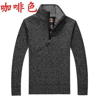 OLOEY Winter Men Sweater Boys Wool Sweater Cardigan Men's Thick Pullover Sweaters M 3XL BLUE GRAY BLACK