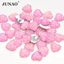 12mm 100pcs Glitter Pink AB Heart Rhinestones Flatback Resin Crystal Stones Non Sewing Diamond Strass Applique for DIY Crafts