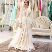 Bbonlinedress Moroccan Kaftan Evening Dresses Lace Appliques Long Evening Dress Arabic Muslim Full Sleeve Formal Party Gown