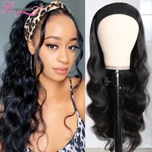 Body Wave Wig Human Hair Headband Wig Scarf Wig Natural Color Brazilian Remy Human Hair Wig Glueless Wig for Women LQ Hair Wig