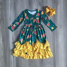 Осенне зимняя одежда для девочек, детская одежда из молочного шелка с цветочным принтом зеленого леса, с оборками, Платье макси с бантом
