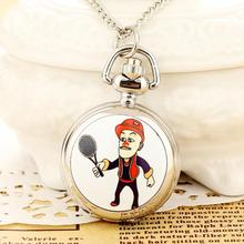 New Fashion Men and Women Silver Pocket Watch Quartz Stainless Steel Steampunk Cartoon Relogio Feminino Reloj Mujer