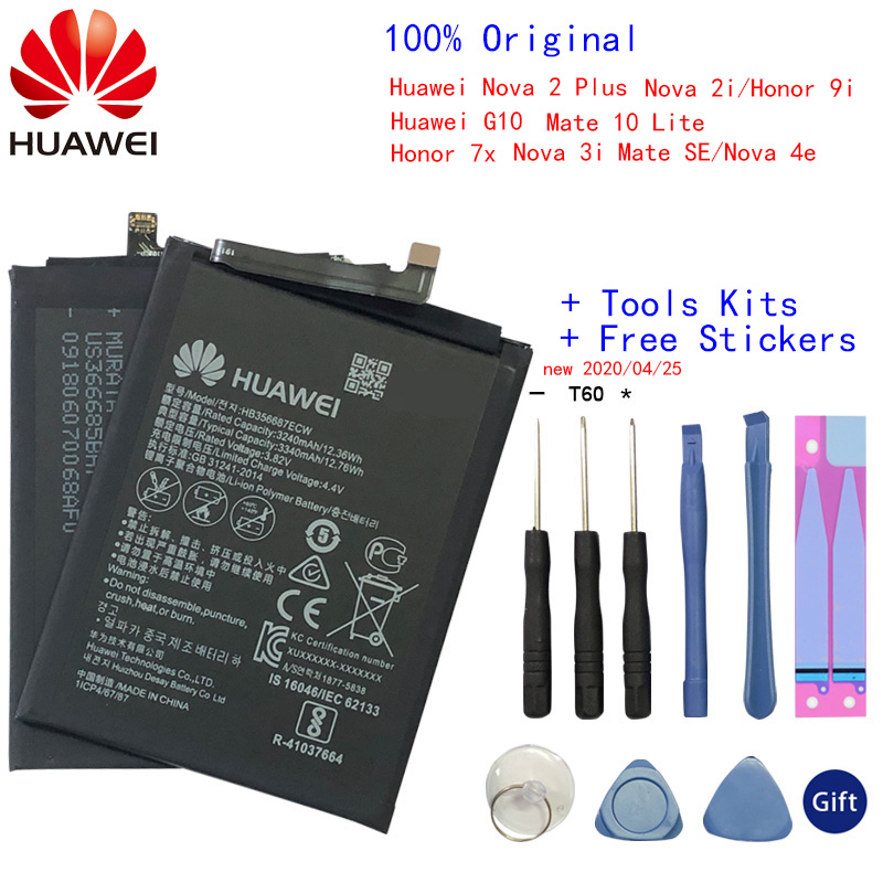 Original Huawei 3340mAh HB356687ECW Battery For Huawei Nova 2 Plus Nova 2i Honor 9i Huawei G10 Mate 10 Lite For Huawei Honor 7X