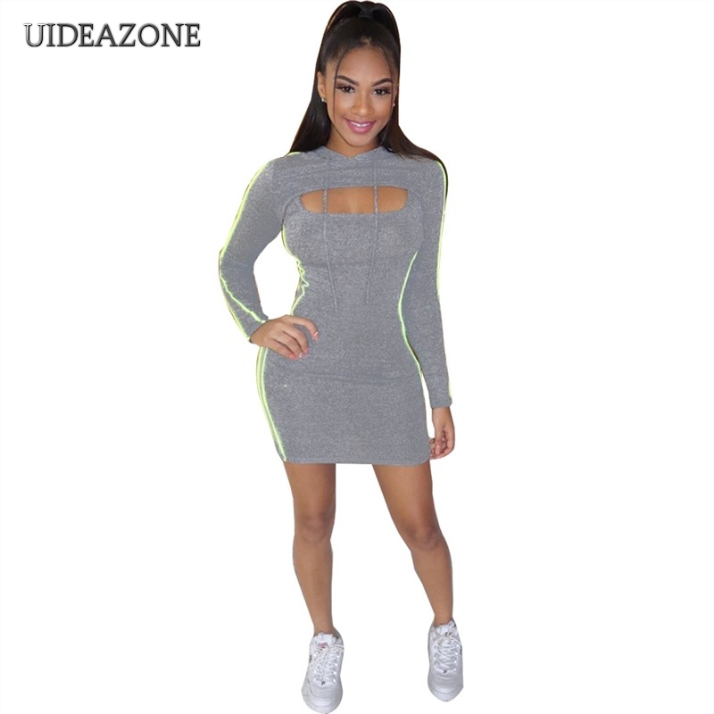 UIDEAZONE Women Two Piece Set Hooded Crop Top Spaghetti Strap Mini Dress Neon Striped Slim Fit Ladies 2 Pieces Suits 2Pcs Sets