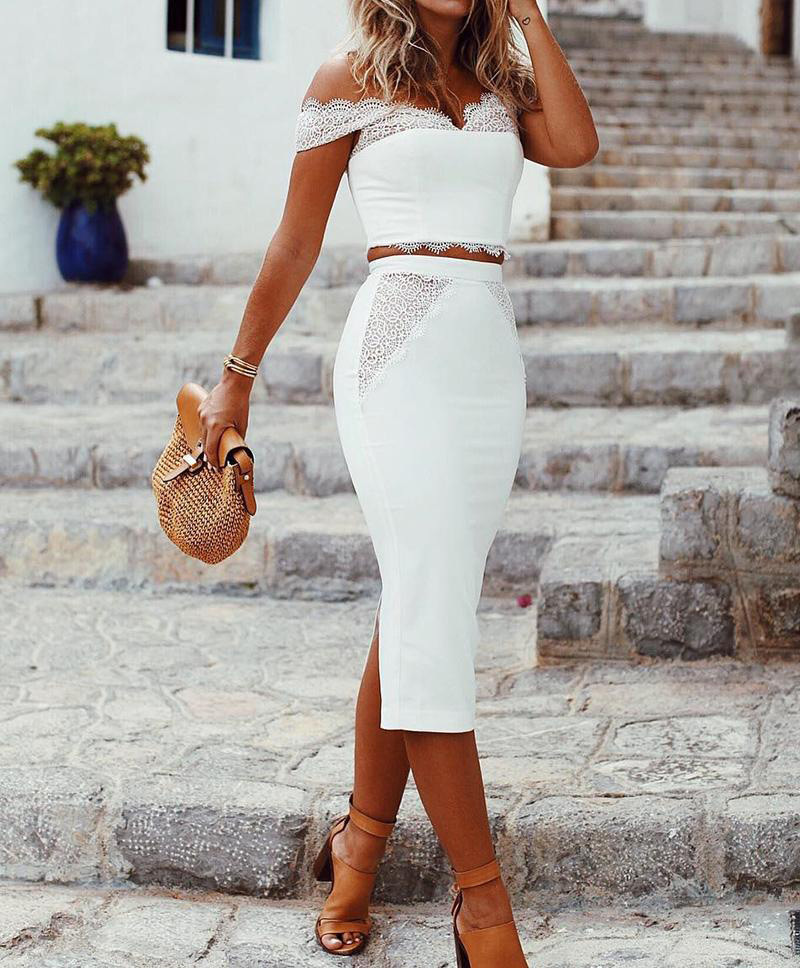Women Slash Neck Lace Stitching Two-piece Suit Elegant Office Lady Off Shoulder White Top And Mini Skirts Set