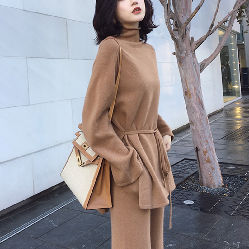 Knitted Turtleneck Sweater 2 Pieces Set Tracksuits Women 2019 Autumn Loose Sweater+Ankle-Length Pants Warm Cashmere Large Suit