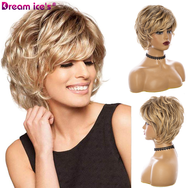 10inches Short Synthetic Wigs For Women Brown Mixed Natural Wave Fluffy Blend Human Hair Cosplay Wig With Bangs Dream Ice's