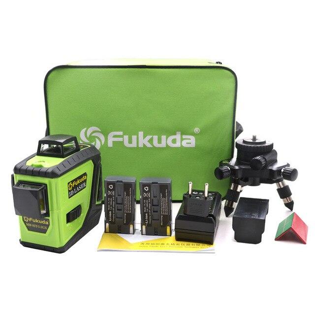 Nivel láser 3D de 12 líneas Fukuda, batería de León, 360, nivel Vertical y Horizontal, autonivelante, 515NM, nivel láser afilado, 2 uds.