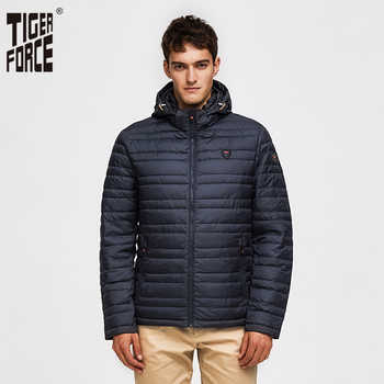 TIGER FORCE 2019 Men Jacket Spring Fashion Cotton Padded Coat with Hoody Solid Color Detachable Hooded Men\'s Outerwear Parka - DISCOUNT ITEM  72 OFF Men\'s Clothing
