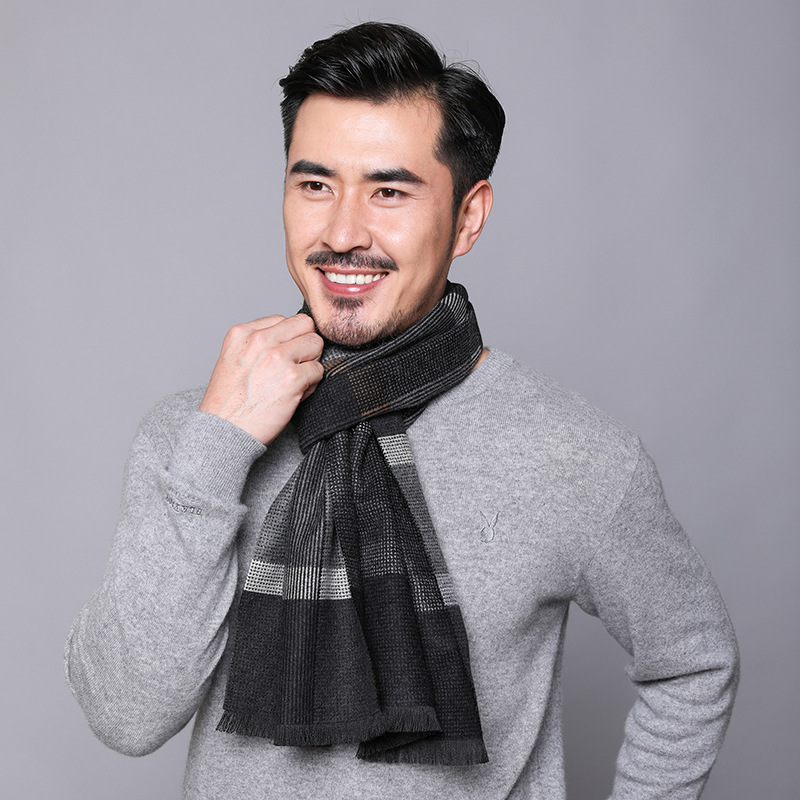 2019 The TI Mey Autumn New Style Faux Cashmere MEN'S Scarf Japanese Korean Decoration Stripes Scarf Men's Manufacturers Direct S