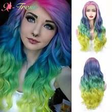 X-TRESS synthétique dentelle avant perruques Ombre couleur perruque pour les femmes noires arc-en-ciel couleur longue ondulée partie libre dentelle perruque résistant à la chaleur