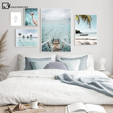 Maldives Ocean Boat Landscape Painting Tropical Sunny Beach Travel Poster Canvas Print Wall Art Picture Modern Home Decoration