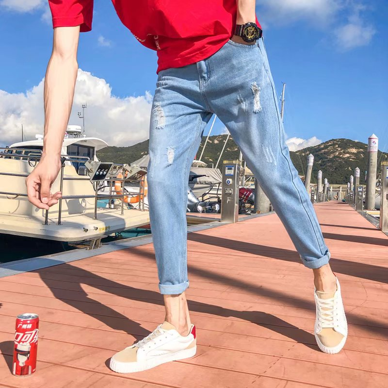 Spring And Summer Jeans Men Slim Fit Elasticity Handsome Slimming Ripped Pants Korean-style Trend Capri Skinny With Holes Pants