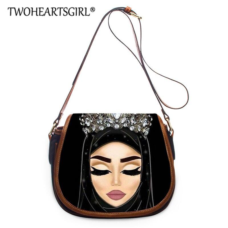 Twoheartsgirl Hijab Face Muslim Islamic Girl Eyes Black Women Bags Shoulder Handbag BagsLadies Crossbody Bag Saddle Bags