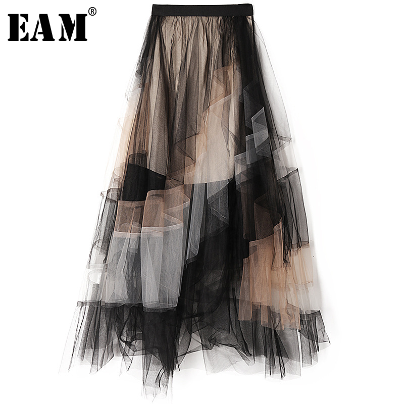 [EAM] High Elastic Waist Contrast Color Mesh Split Temperament Half-body Skirt Women Fashion Tide New Spring Autumn 2020 1S444