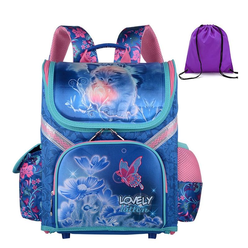 New Girls School Backpacks Children School Bags Orthopedic Backpack Cat Butterfly Bag For Girl Kids Satchel Knapsack Mochila