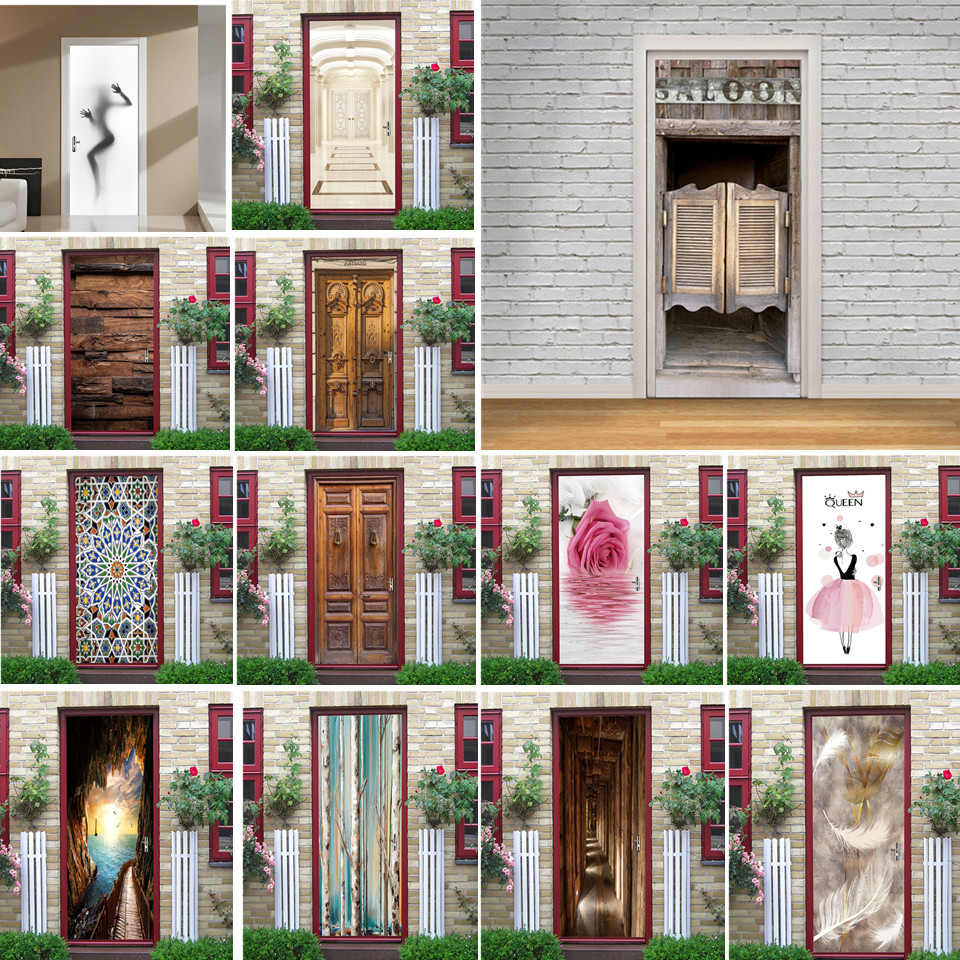 2pcs/set Saloon Door Stickers Vinyl DIY Peel And Stick Wallpaper Waterproof Poster Room Decoration Home Design Adesivi Per Porte