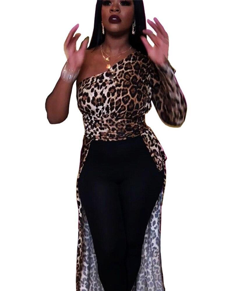 Womens Designer Leopard Printed Dress Womens One Shoulder Irregular Dresses Fashion Womens Dresses