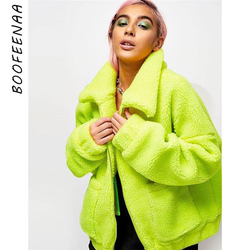 BOOFEENAA Neon Green Oversized Teddy Coat Woman Streetwear Zip Pocket Lamb Fleece Fluffy Faux Fur Jacket Winter 2019 C54-BD65