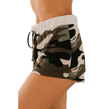 Womens Shorts Camouflage High Waist Fitness Gym Push Up Printing Drawstring Trousers Leggings