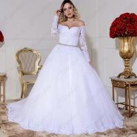 2020 Vestido de Noiva Lace A Line Bridal Dresses Robe de Mariee Wedding Gowns Luxury Beaded Long Sleeve White Wedding Dress