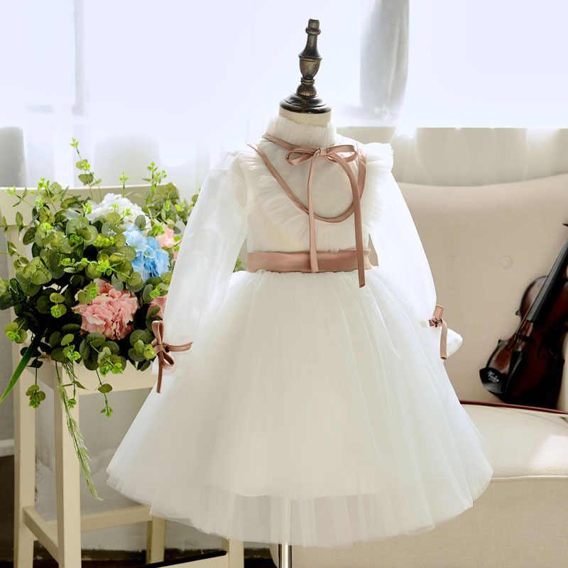 아기 소녀 공주 드레스 화이트 레이스 침례 드레스 여자 1 년 생일 파티 결혼식 Christening 유아 유아 의류