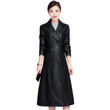 2019 Autumn Winter Fashion Long PU Leather Coat Black Faux Jackets Women Plus Size Trench High Quality